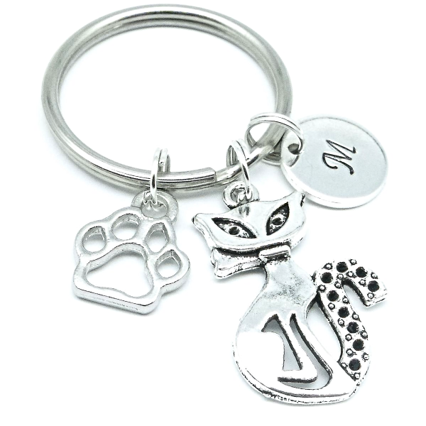 Cat keyring gift personalised initial